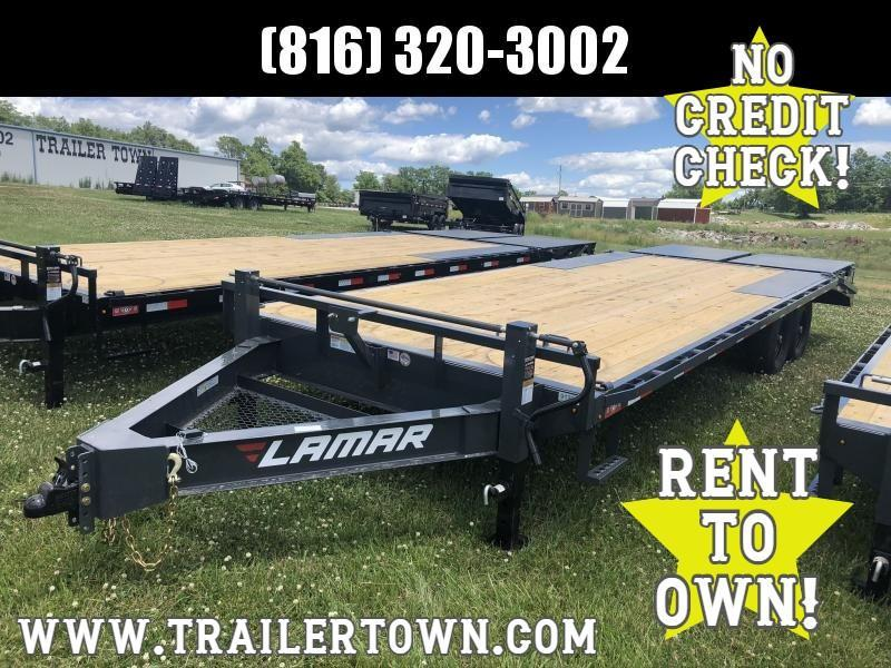 2020 LAMAR 102x24 DECKOVER EQUIPMENT TRAILER W/7K AXLES