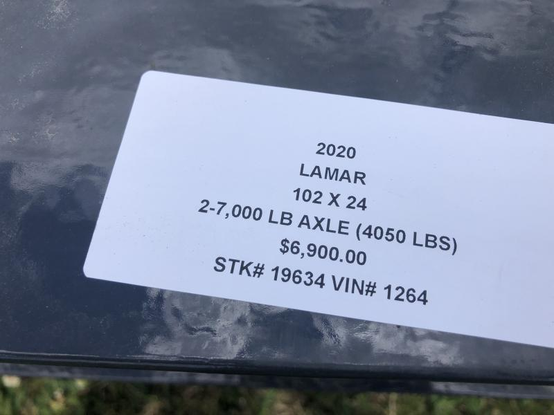 2020 LAMAR 102x24 DECKOVER EQUIPMENT TRAILER W/7K AXLES