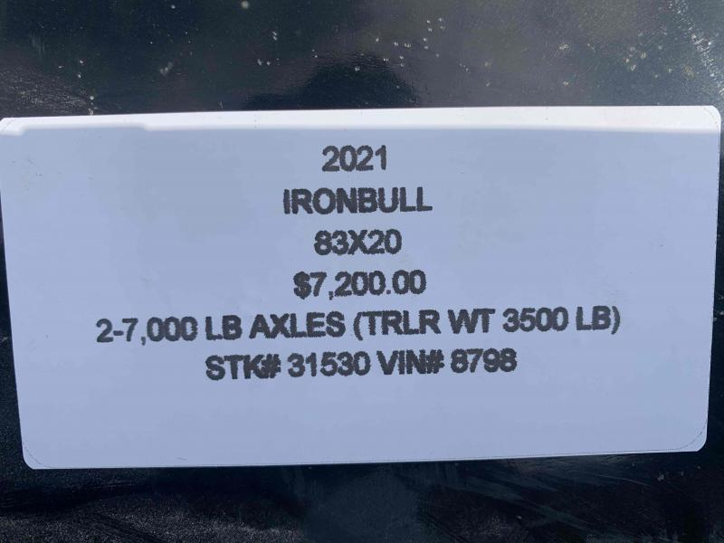 2021 IRON BULL 83X20 EQUIPMENT HAULER TRAILER
