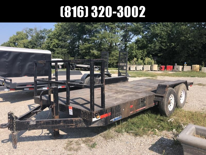 USED 2002 EAGLE 83X16 STEEL DECK EQUIPMENT TRAILER