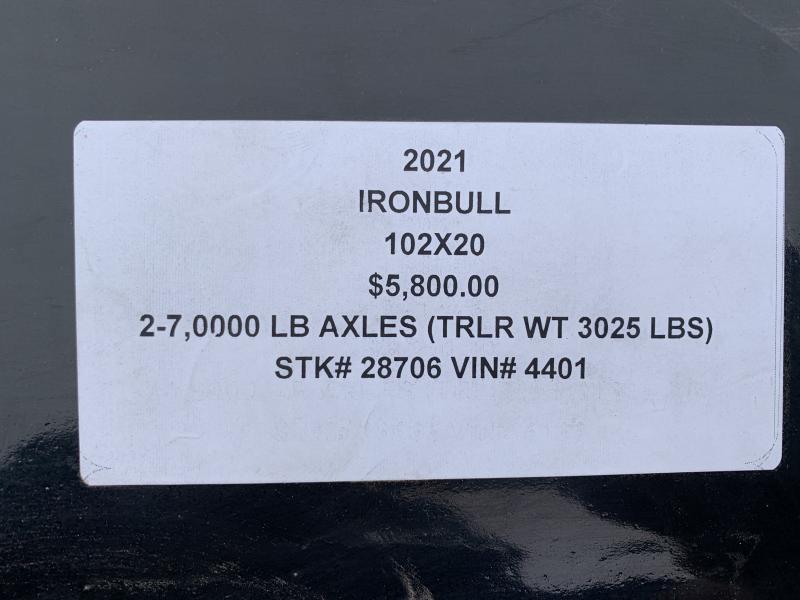 2021 IRON BULL 102X20 EQUIPMENT HAULER TRAILER W/ DRIVE OVER FENDERS