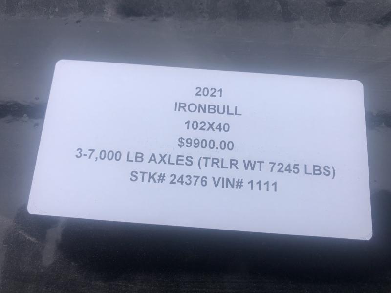 2021 IRON BULL 102 X 40 GOOSENECK TRIPLE AXLE EQUIPMENT TRAILER W/ DRIVE OVER FENDERS
