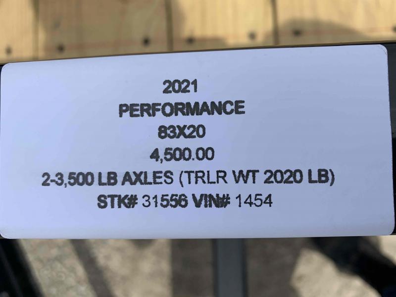 2021 PERFORMANCE 83 x 20 UTILITY TRAILER W/ 2' DOVE TAIL