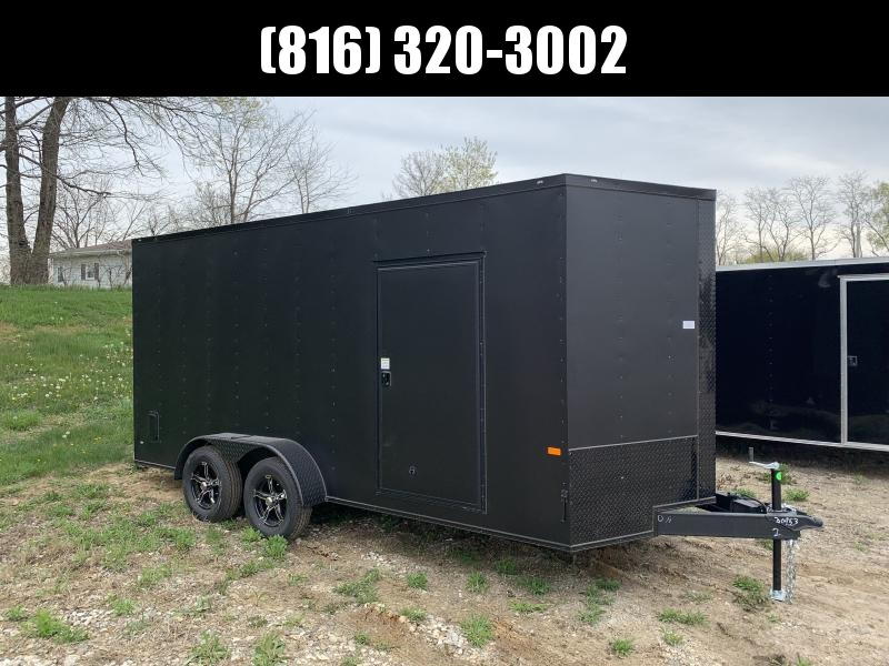 2021 ROCK SOLID 7 X 16 X 7 ENCLOSED CARGO TRAILER W/ BLACK TRIM PACKAGE