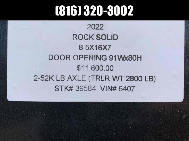 2022 ROCK SOLID 8.5 X 16 X 7 ENCLOSED CARGO TRAILER W/ 52K AXLES