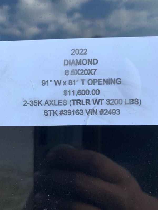 2022 DIAMOND 8.5 X 20 X 7 ENCLOSED CARGO TRAILER