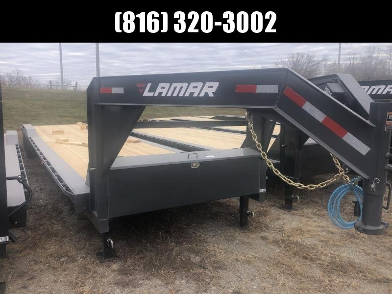 2021 LAMAR 102X40 GOOSENECK TRIPLE AXLE EQUIPMENT TRAILER W/ DRIVE OVER FENDERS