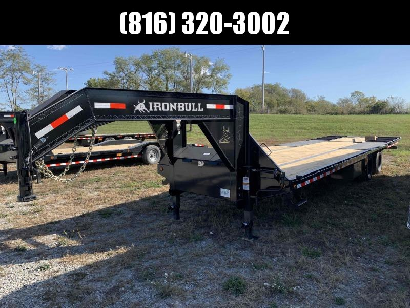 2022 IRON BULL 102X32 GOOSENECK LOPRO DECK OVER FLAT BED TRAILER W/ HYDRAULIC DOVE TAIL AND 10K AXLES