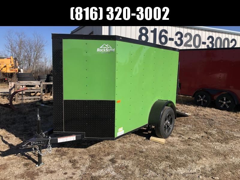 2021 ROCK SOLID 5 X 8 X 5 ENCLOSED CARGO TRAILER IN JOHN DEERE GREEN