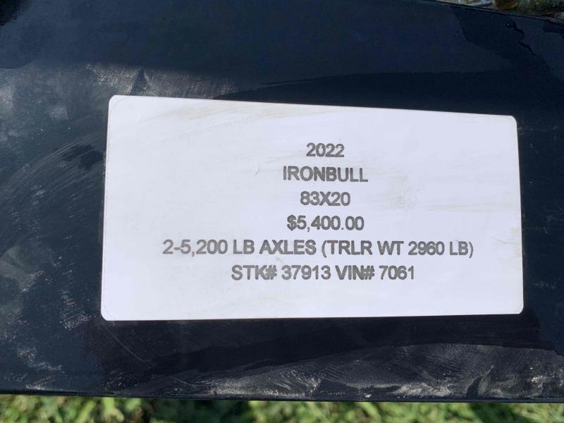 2022 IRON BULL 83X20 EQUIPMENT TRAILER W/ 52K AXLES