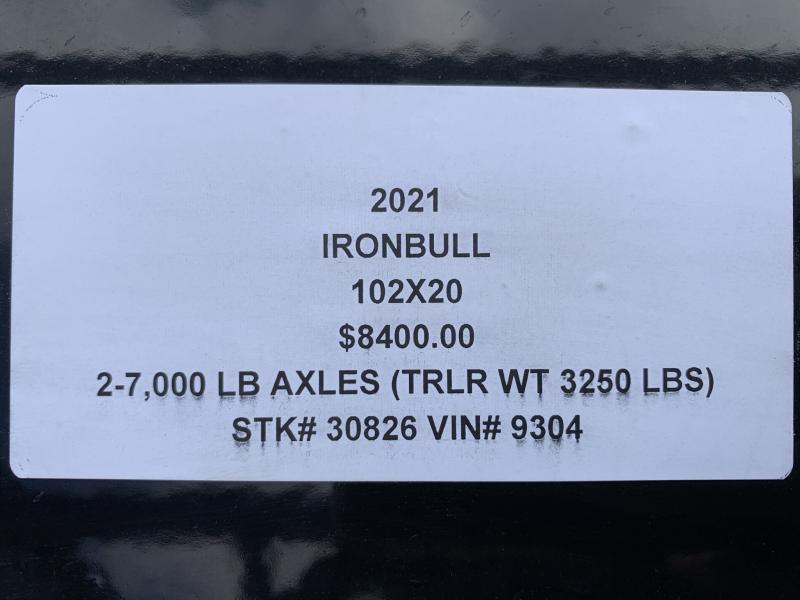 2021 IRON BULL 102 X 20 GOOSENECK EQUIPMENT TRAILER W/ DRIVE OVER FENDERS