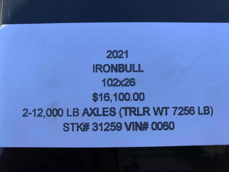 2021 IRON BULL 102X26 DECKOVER PINTLE EQUIPMENT HAULER TRAILER W/12K AXLES
