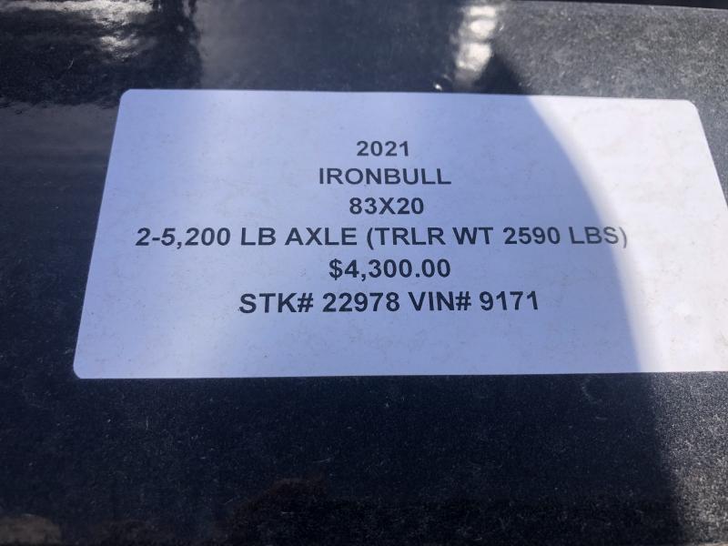 2021 IRON BULL 83X20 EQUIPMENT HAULER TRAILER W/ 2' DOVE TAIL