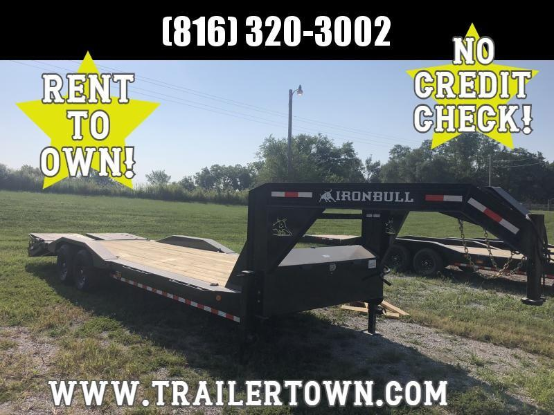 2021 IRON BULL 102 X 26 GOOSENECK EQUIPMENT HAULER TRAILER W/ DRIVE OVER FENDERS