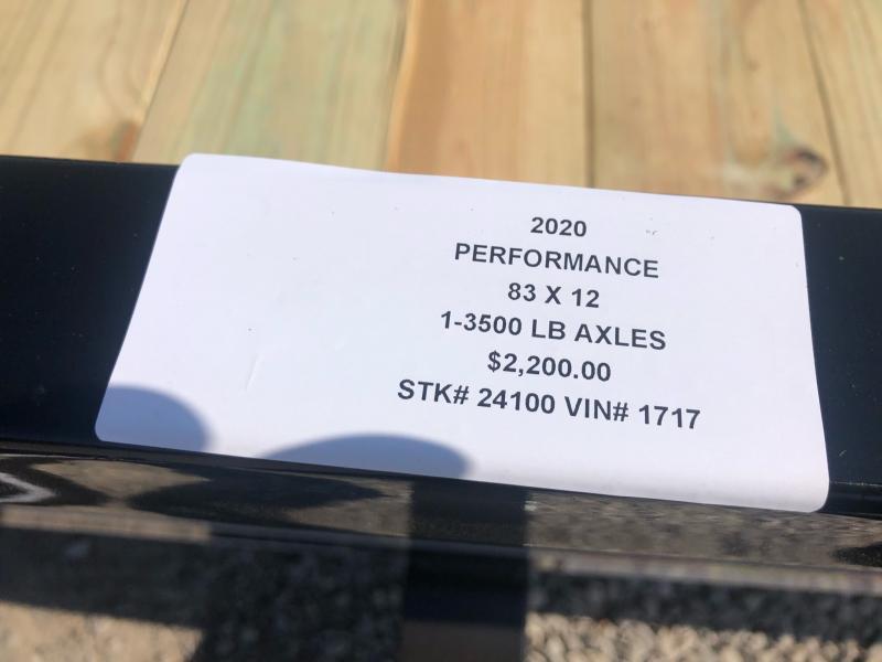 2020 PERFORMANCE 83 x 12 UTILITY TRAILER W/ 2' DOVE TAIL