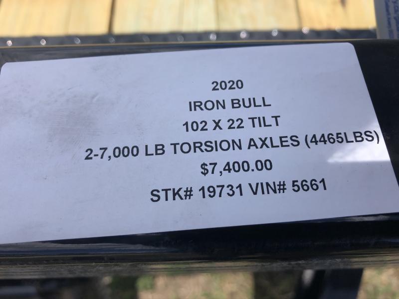 2020 IRON BULL 102X22 TILT LOPRO EQUIPMENT HAULER TRAILER