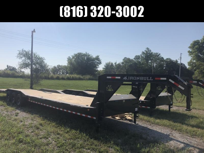 2021 IRON BULL 102 X 40 GOOSENECK TRIPLE AXLE EQUIPMENT HAULER TRAILER W/DRIVE OVER FENDERS
