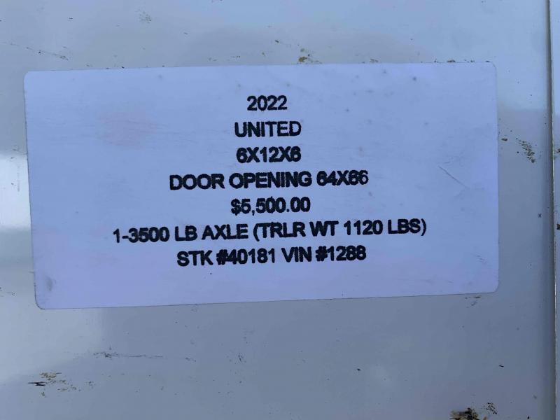2022 UNITED 6x12x6 ENCLOSED CARGO TRAILER