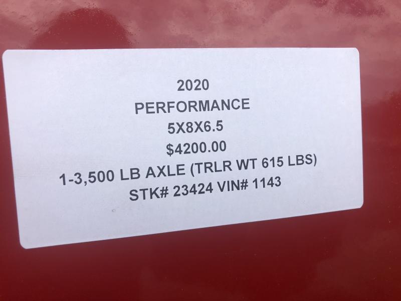 2020 PERFORMANCE 5 X 8 X 6.5 ENCLOSED CARGO TRAILER W/ STEEL SIDES