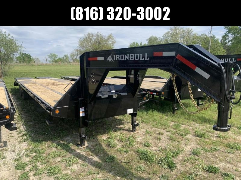 2021 IRON BULL 102X36 GOOSENECK LOPRO DECK OVER FLAT BED TRAILER W/ 12K AXLES AND 14 PLY TIRES