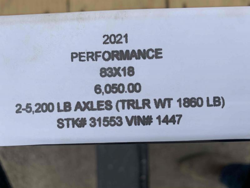 2021 PERFORMANCE 83 x 18 UTILITY TRAILER W/ 52K AXLES