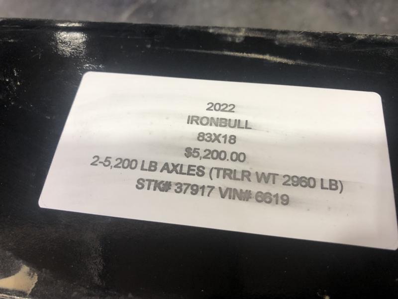 2022 IRON BULL 83X18 EQUIPMENT TRAILER W/ 52K AXLES
