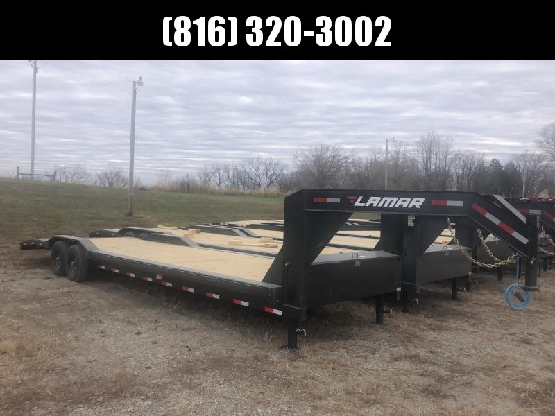2021 LAMAR 102 X 32 GOOSENECK EQUIPMENT TRAILER W/ DRIVE OVER FENDERS