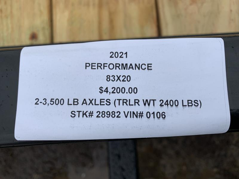 2021 PERFORMANCE 83 x 20 EQUIPMENT TRAILER W/ 2' DOVE TAIL