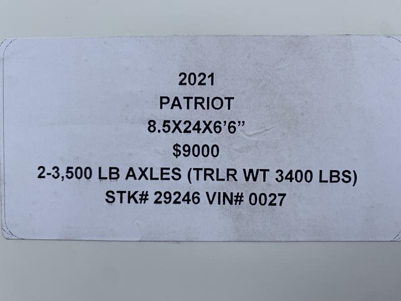 "2021 PATRIOT 8.5 X 24 X 6'6"" ENCLOSED CARGO TRAILER"