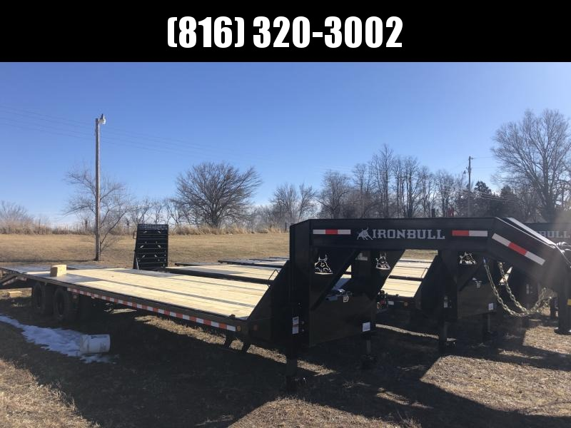 2021 IRON BULL 102X32 GOOSENECK LOPRO DECK OVER FLAT BED TRAILER W/ 10K AXLES