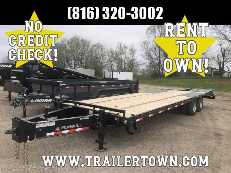 2020 IRON BULL 102X30 DECKOVER PINTLE EQUIPMENT HAULER TRAILER W/12K AXLES