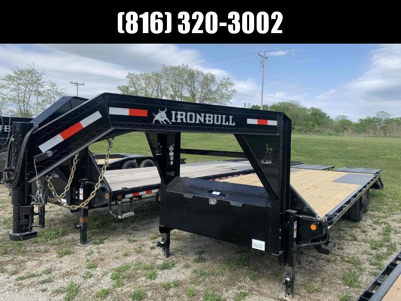 2021 IRON BULL 102X24 GOOSENECK DECK OVER FLAT BED TRAILER