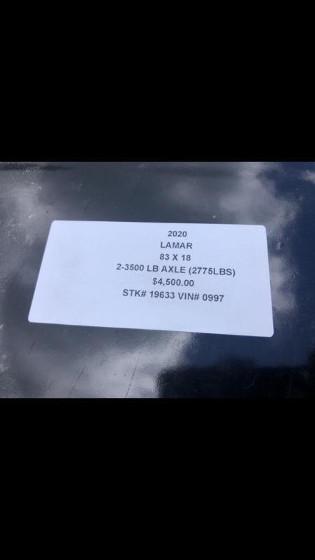 2020 LAMAR 83X18 EQUIPMENT HAULER TRAILER W/ 7K AXLES