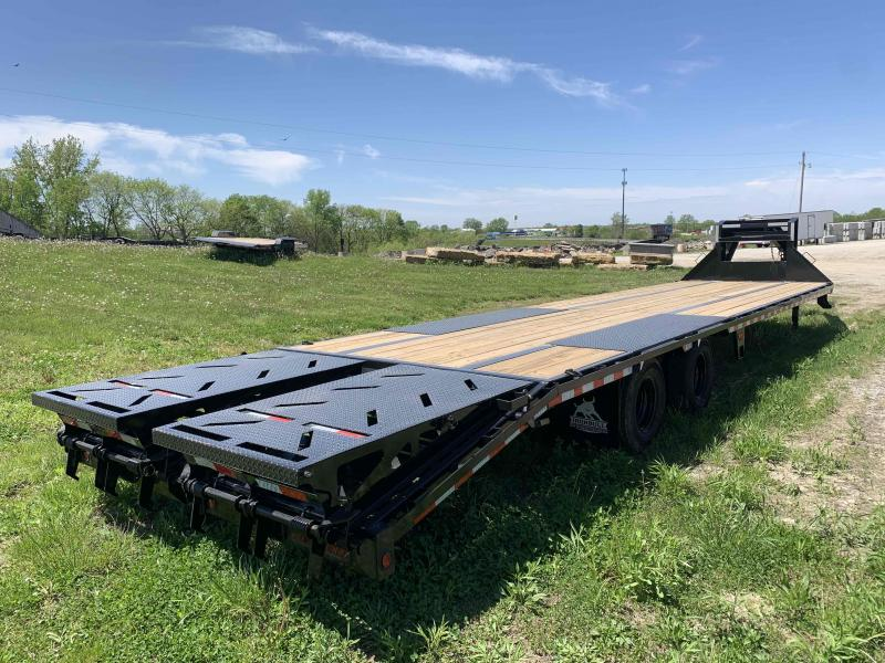 2021 IRON BULL 102X36 GOOSENECK LOPRO DECK OVER FLAT BED TRAILER W/ 10K AXLES