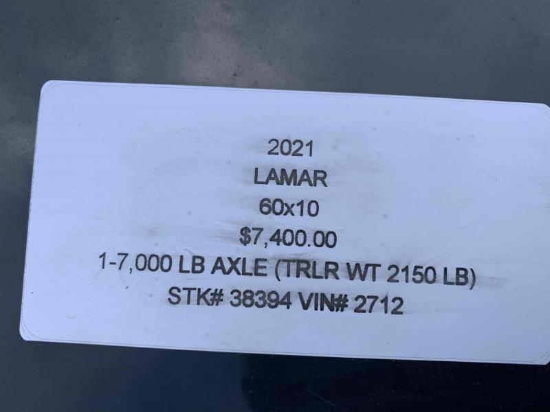 2021 LAMAR 60 X 10 MINI DUMP TRAILER W/ SINGLE 7K AXLE