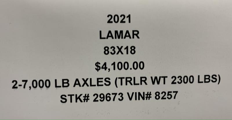 2021 LAMAR 83X18 EQUIPMENT HAULER TRAILER W/ 2' DOVE TAIL