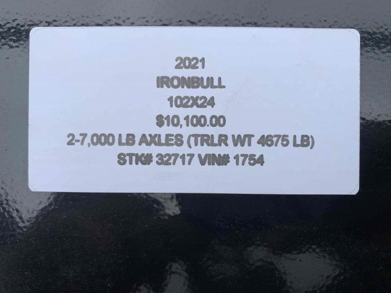 2021 IRON BULL 102 X 24 GOOSENECK EQUIPMENT TRAILER W/ DRIVE OVER FENDERS