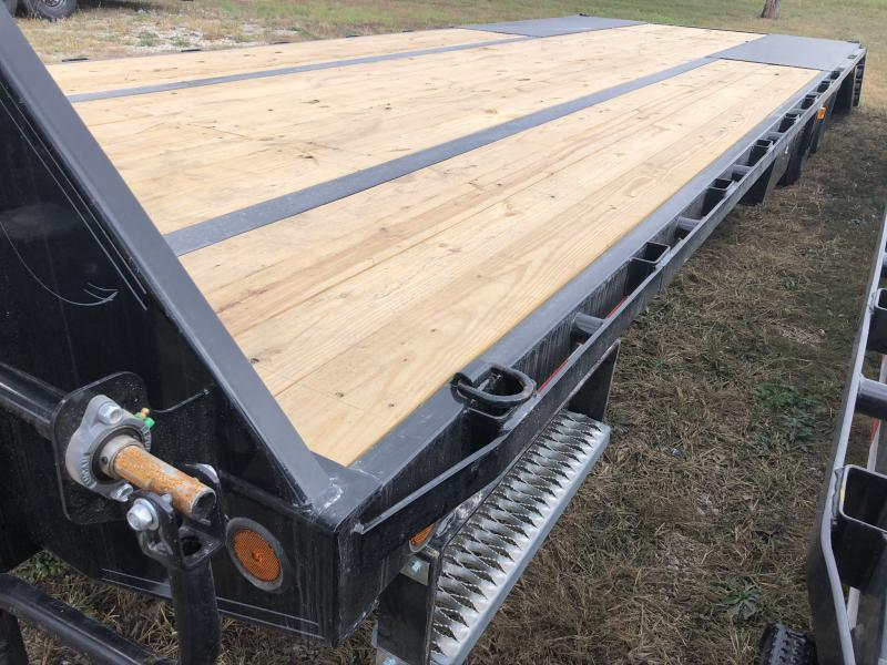 2021 IRON BULL 102X32 GOOSENECK LOPRO DECK OVER FLAT BED TRAILER W/ HYDRAULIC DOVE TAIL AND 10K AXLES