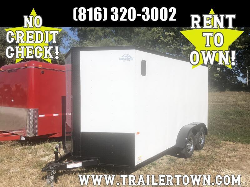 2021 ROCK SOLID 7 X 14 X 7 ENCLOSED CARGO TRAILER WITH EXTRA HEIGHT AND BLACK TRIM PACKAGE