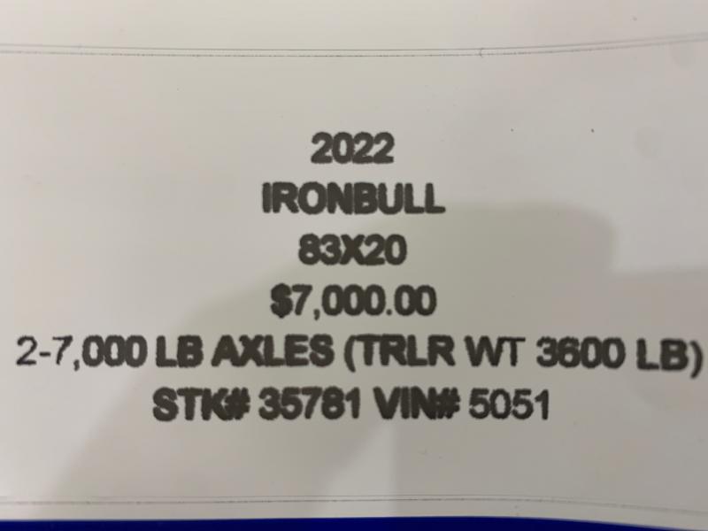 2022 IRON BULL 83X20 EQUIPMENT TRAILER W/ I-BEAM FRAME