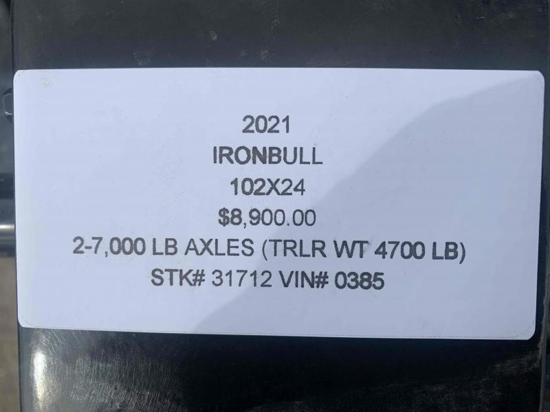 2021 IRON BULL 102X24 DECKOVER PINTLE EQUIPMENT HAULER TRAILER