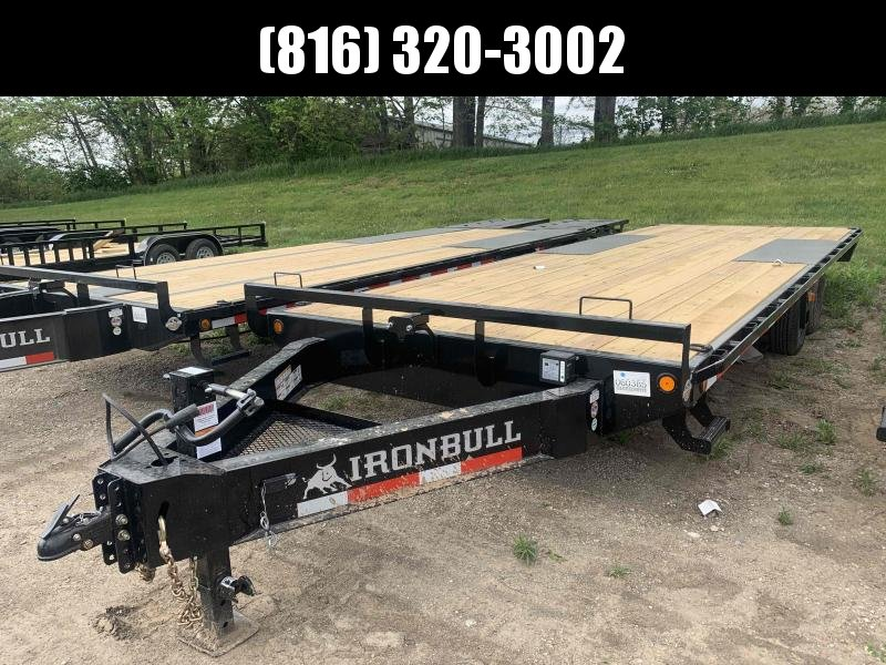 2021 IRON BULL 102X24 DECKOVER PINTLE EQUIPMENT HAULER TRAILER