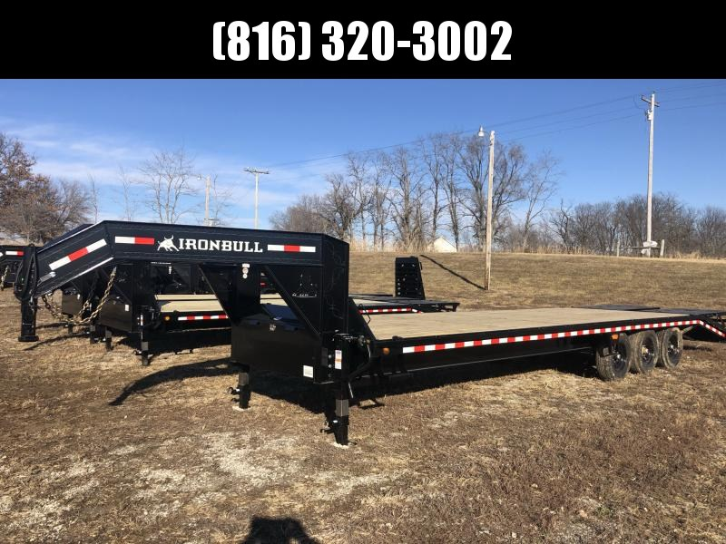 2021 IRON BULL 102X30 GOOSENECK DECK OVER FLAT BED EQUIPMENT TRAILER WITH TRIPLE AXLES