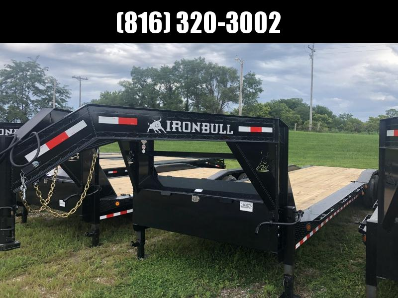 2020 IRON BULL 102 X 34 GOOSENECK EQUIPMENT HAULER TRAILER W/ DRIVE OVER FENDERS