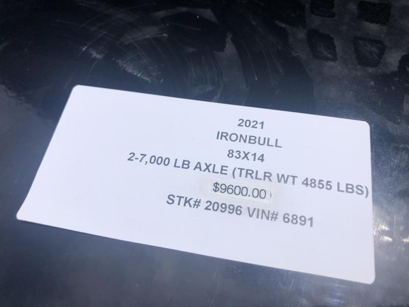 "2020 IRON BULL 83X14 DUMP TRAILER W/ 48"" SIDES"