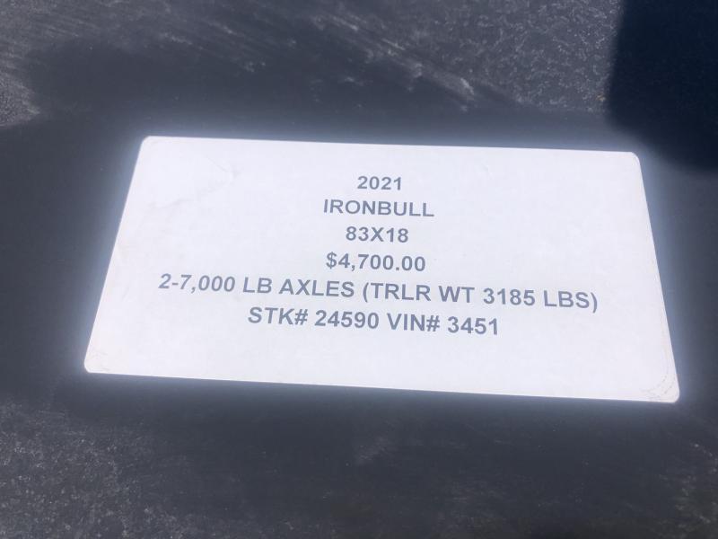 2021 IRON BULL 83X18 EQUIPMENT HAULER TRAILER W/ 7K AXLES