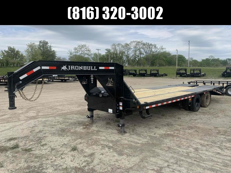 2021 IRON BULL 102X25 GOOSENECK LOPRO DECK OVER FLAT BED TRAILER W/ 10K AXLES