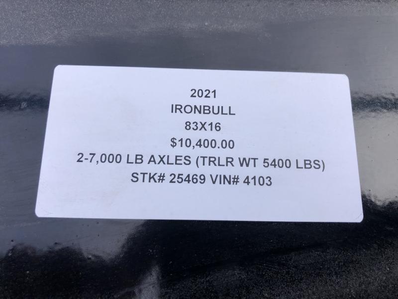 2021 IRON BULL 83X16 GOOSENECK DUMP TRAILER
