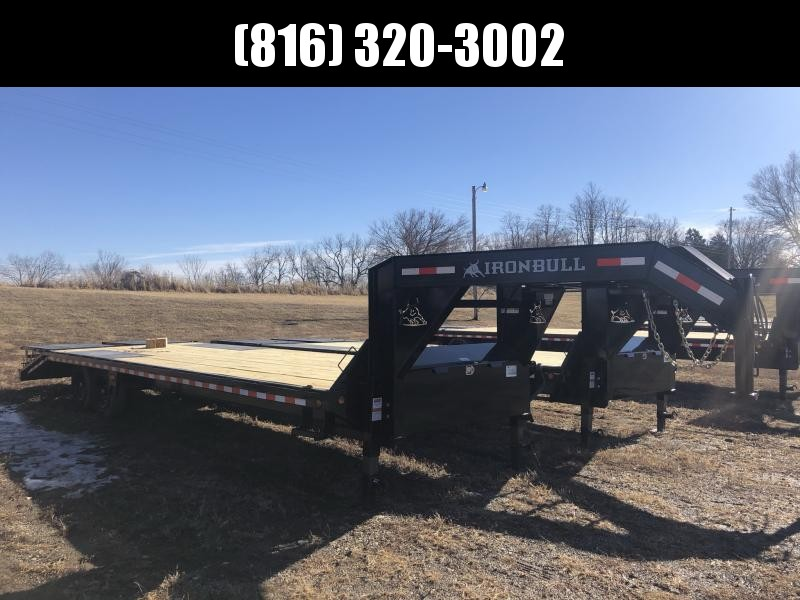2021 IRON BULL 102X30 GOOSENECK DECK OVER FLAT BED EQUIPMENT TRAILER