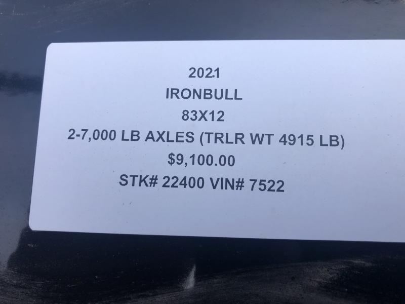 2021 IRON BULL 83X12 GOOSENECK DUMP TRAILER
